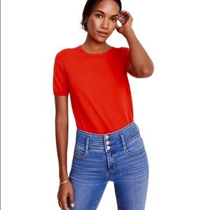 Ann Taylor red crew neck Short sleeves tee…